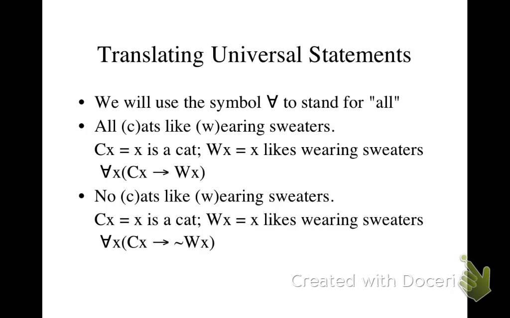 Translating Universal Statements In Predicate Logic Youtube