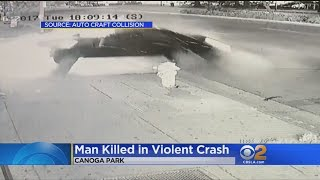 Violent Fatal Crash In Canoga Park Caught On Video