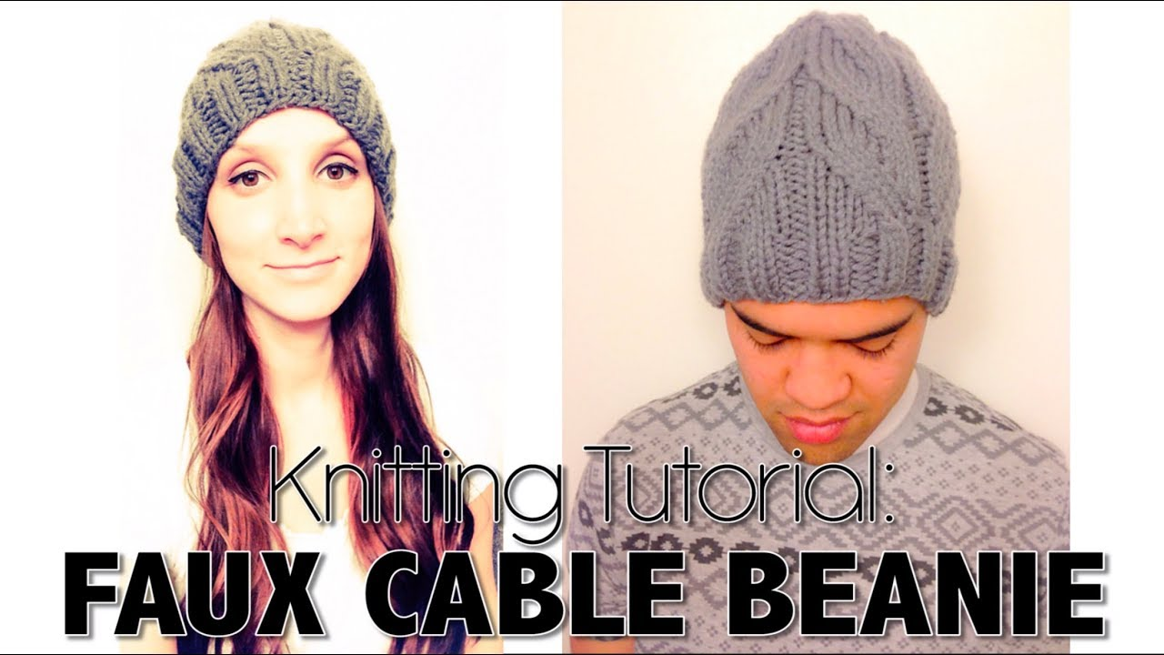 How To Knit Easy Faux Cable Beanie Youtube