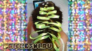 Прическа для девочек. Плетение кос с атласной лентой.