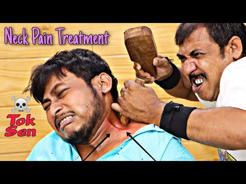 Neck Pain Treatment With Tok Sen Therapy | Head Massage With Neck Cracking | ASMR