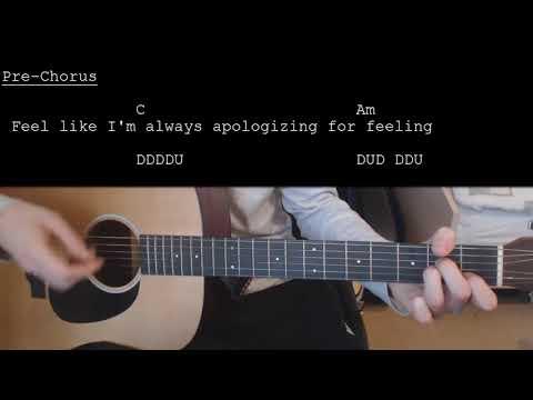 Julia Michaels Ft. Selena Gomez - Anxiety EASY Guitar Tutorial With Chords / Lyrics