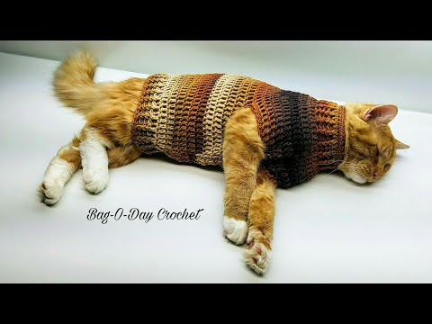 Learn How To Crochet Steven's Striped Sweater Crochet Cat Sweater Tutorial #426