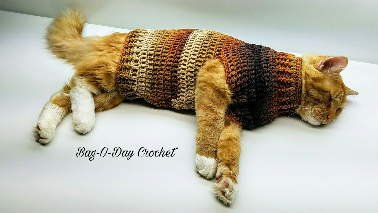 How To Crochet Steven\u0027s Striped Sweater Crochet Cat Sweater Tutorial 426