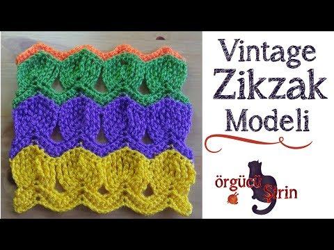 Vintage Zikzak Battaniye Modeli / Tığ işi örgü modelleri