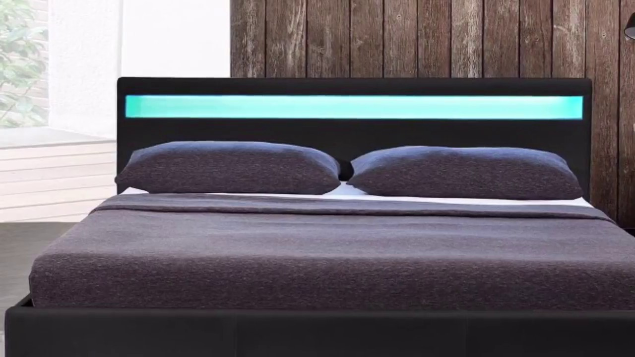 hochwertiges bett mit led beleuchtung produktvorstellung g nstiger als selber bauen youtube. Black Bedroom Furniture Sets. Home Design Ideas