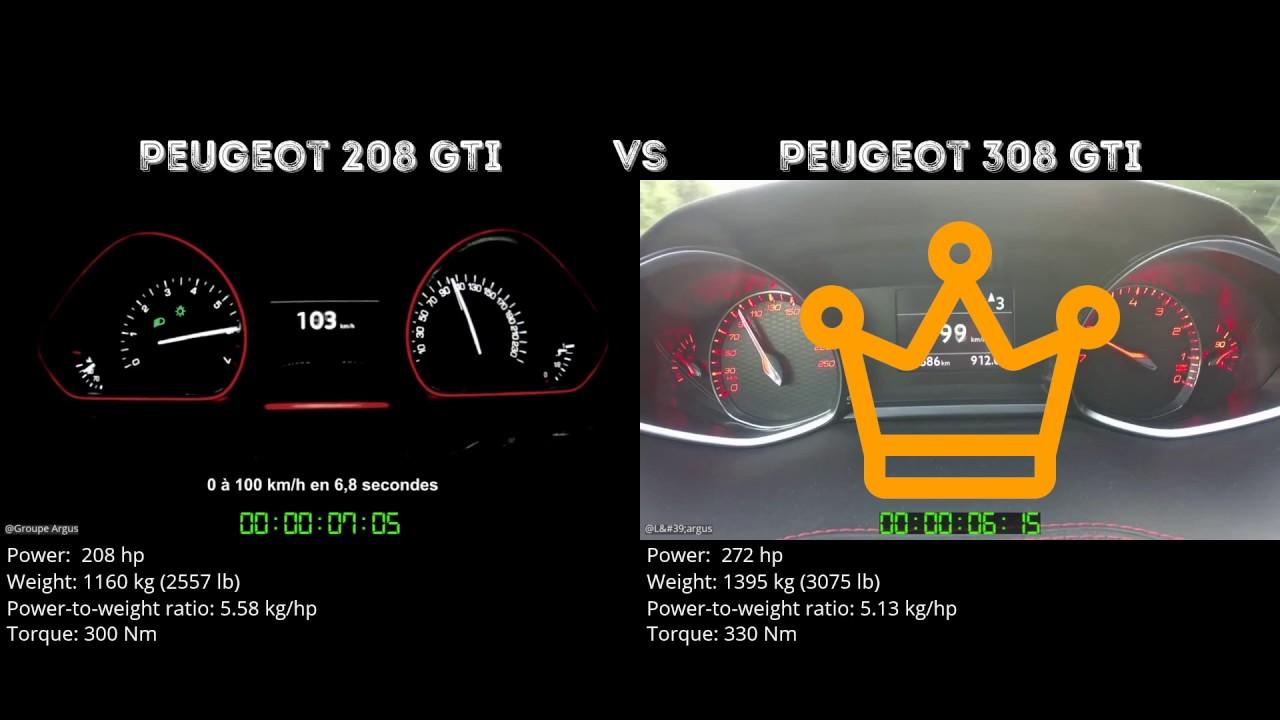 peugeot 208 gti vs peugeot 308 gti // 0-100 km/h - youtube