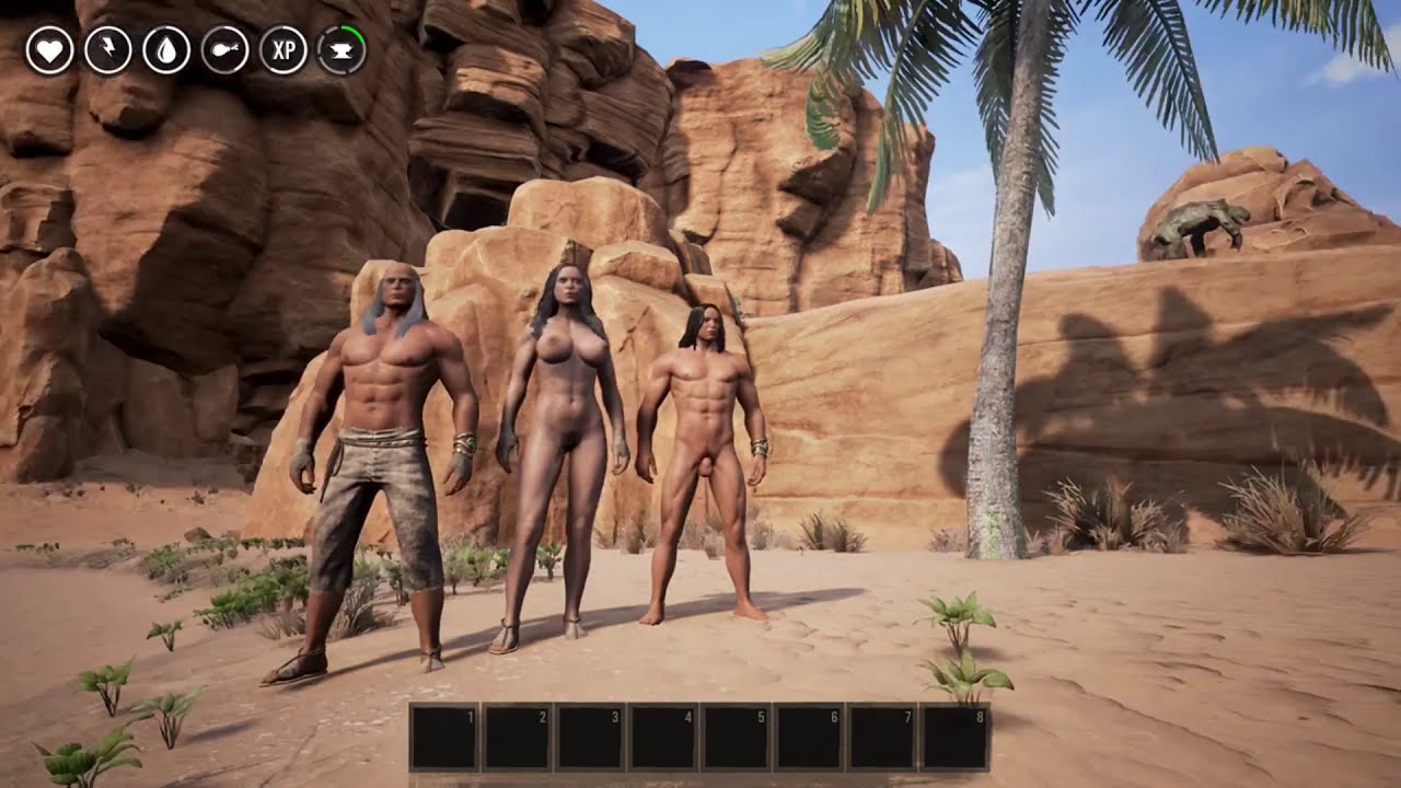 Conan Exiles Gameplay Multiplayer 2 Guys A Naked Girl And Getting Wood 1