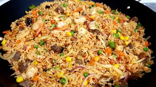How to prepare spicy shrimp and beef fried rice/how to cook fried rice.