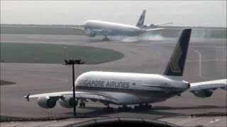 Airbus A380 Singapore Airlines. Hong Kong Airport Spotting. Pushback, Taxi and Takeoff. Flight SQ861