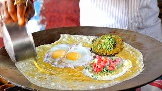 Teen Patti Omelette | Roadside Three Layer Egg Dish | Egg Street Food |  Indian Street Food