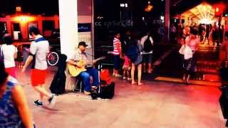 Blind Singer singing Chinese Song in Singapore of Asia