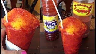 Chamoyadas de mango con chamoy y miguelito
