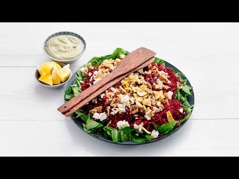 Powerfoodsalade met spinazie, bieten en avocadodressing – Allerhande