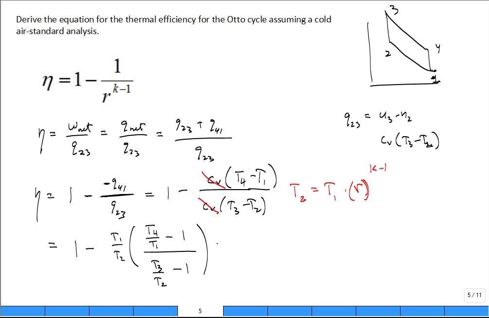derive otto cycle thermal efficiency