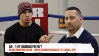 ALL OUT MANAGEMENT PRESS ANNOUNCEMENT OF JASON RODRIGUEZ(SUPER ELITE BOXING NEWS PRESENT the Press Announcement of ALL OUT MANAGEMENT adding Jason Rodriguez as the newest member to the ALL ..., 2015-03-08T22:09:00.000Z)