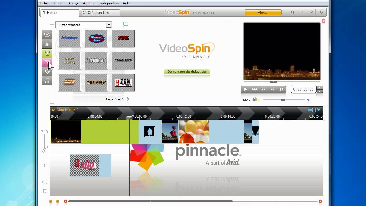 gratuitement videospin pinnacle