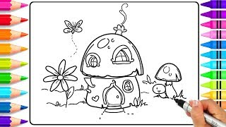 How to Draw a Fairy Garden Step by Step for Kids | Fairy Garden Coloring Pages | Learn to Draw