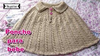 Poncho tejido a dos agujas para niña