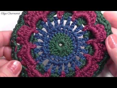 Квадрат крючком для пледа  Разноцветный квадрат