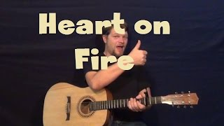 Heart on Fire (Jonathan Clay) Easy Guitar Lesson Strum Chord How to Play Tutorial