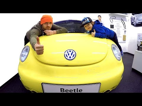 Tim Playing with Daddy at Children's Museum | Driving in My Car Song | VW Bug Ride On with TimKo Kid
