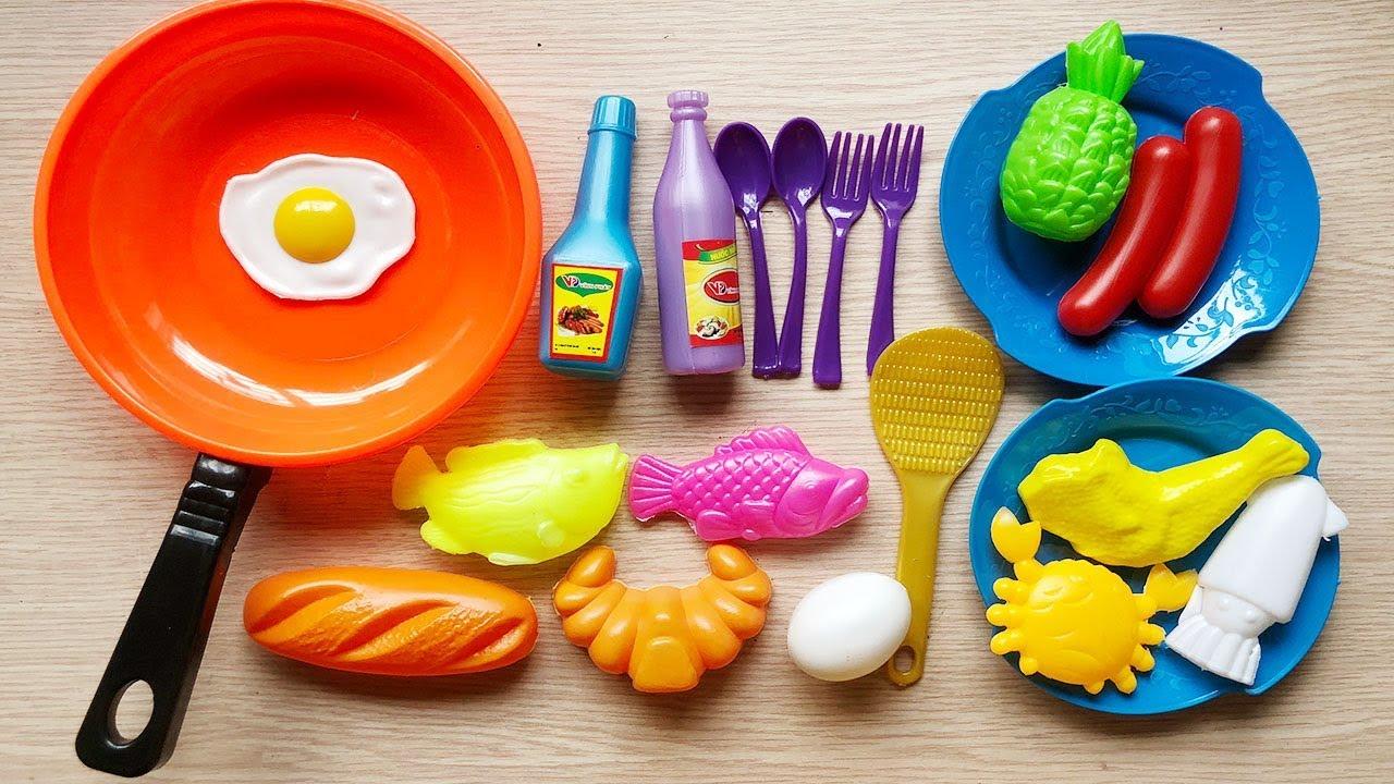 Đồ chơi nấu ăn bé gái 20 món, tôm cua cá mực, nồi chảo bếp, thìa dĩa… – Cooking toys (Chim Xinh)