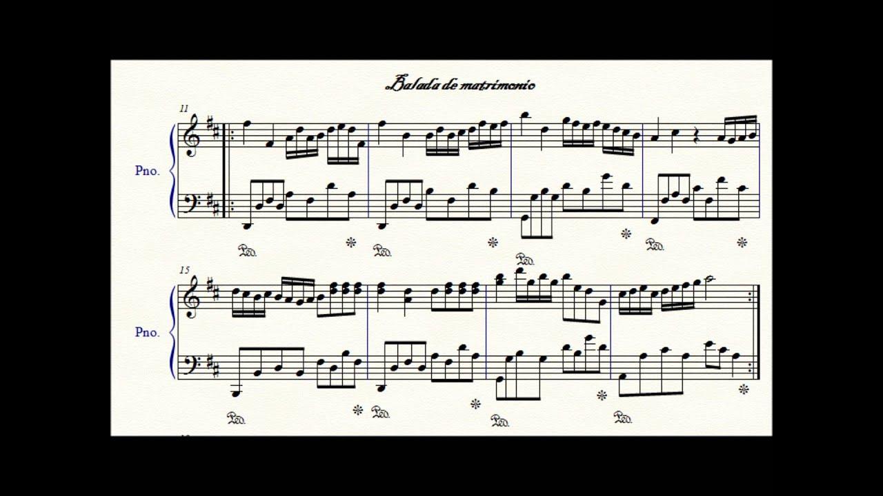 Tema Matrimonio De Amor : Partitura del tema balada de matrimonio escrito por jose