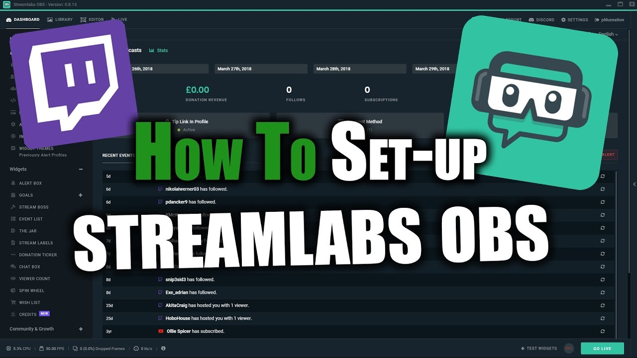 How to set up obs
