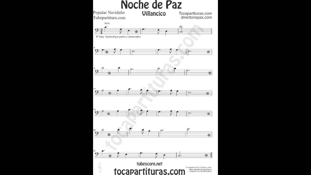 Silent Night Sheet Music in Bass Clef for Trombone Cello Bassoon Tuba ...