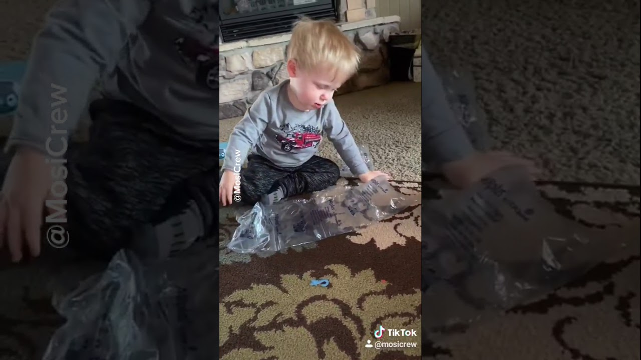 Baby Popping Bubble Wrap With His Head Youtube
