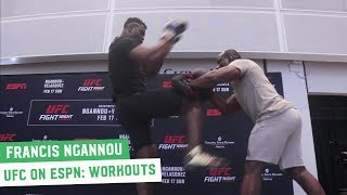 Francis Ngannou shows his power at UFC on ESPN 1 Open Workouts