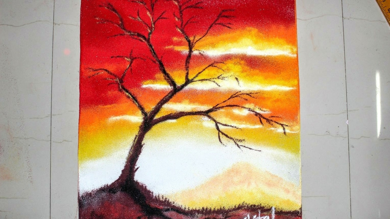 Sunset Scenery Rangoli designs with colours for Diwali ...