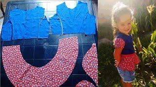 Cortando blusa peplum infantil- Da Série Retalhos por Jonatas Verly
