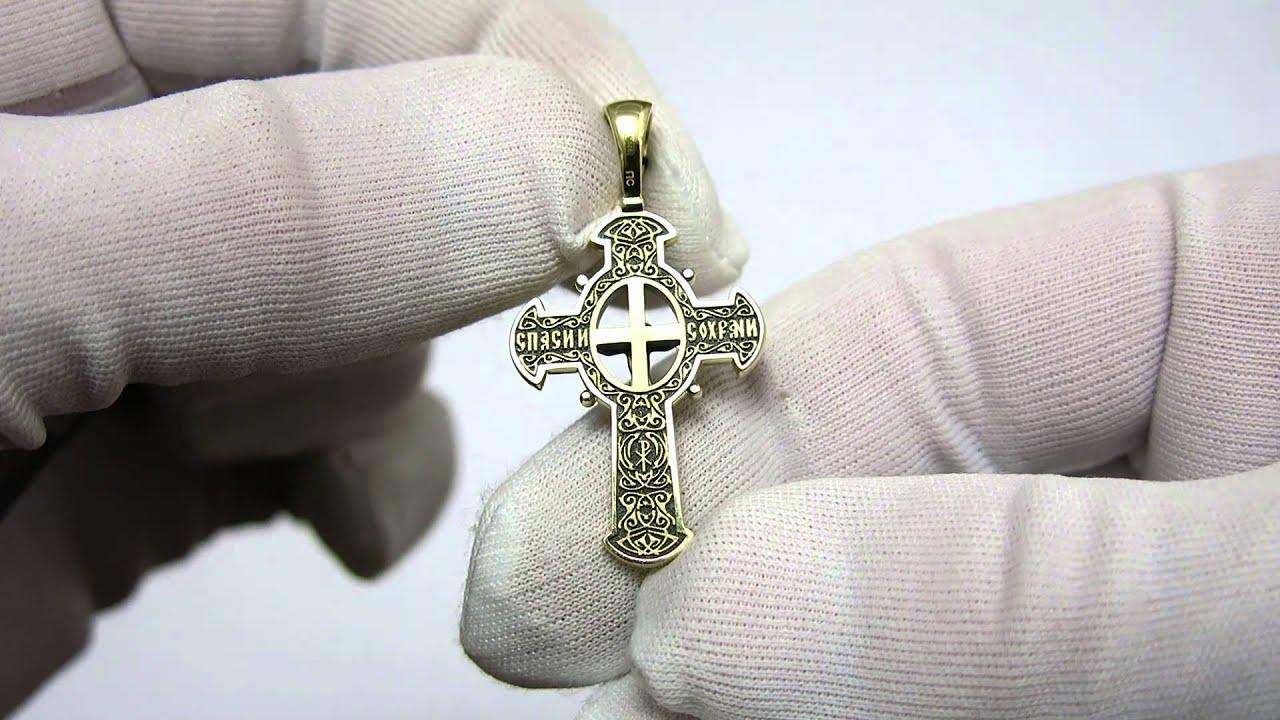 Золотой Крестик Возрождение 11482-Ч евро - YouTube