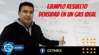 Cálculo de la Densidad de un gas  Gas Ideal   Termodinámica   Ejemplo resuelto