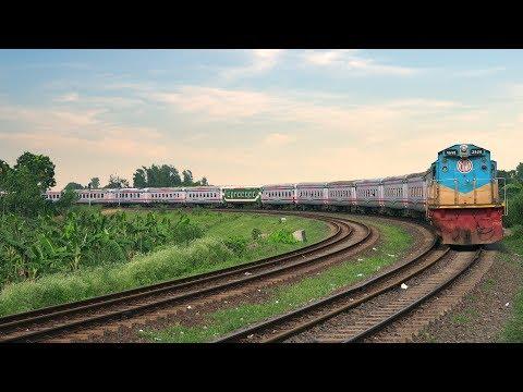 Rangpur Express Train on Beautiful Ishurdi Bypass Rail Curve- Bangladesh Railway