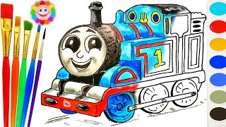 HOW TO DRAW THOMAS - Coloring with Thomas and Friends - Train Video For Children