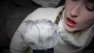 asmr fluffy microphone brushing unintelligible whispers mouth kissing sounds assortment