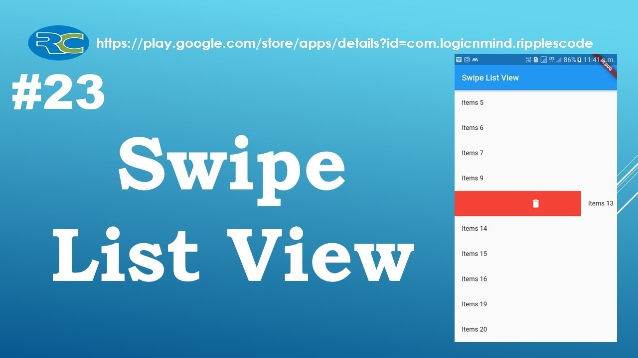 Let us Flutter(Android & IOS) || How to create Swipe List View in Flutter  || Part-23