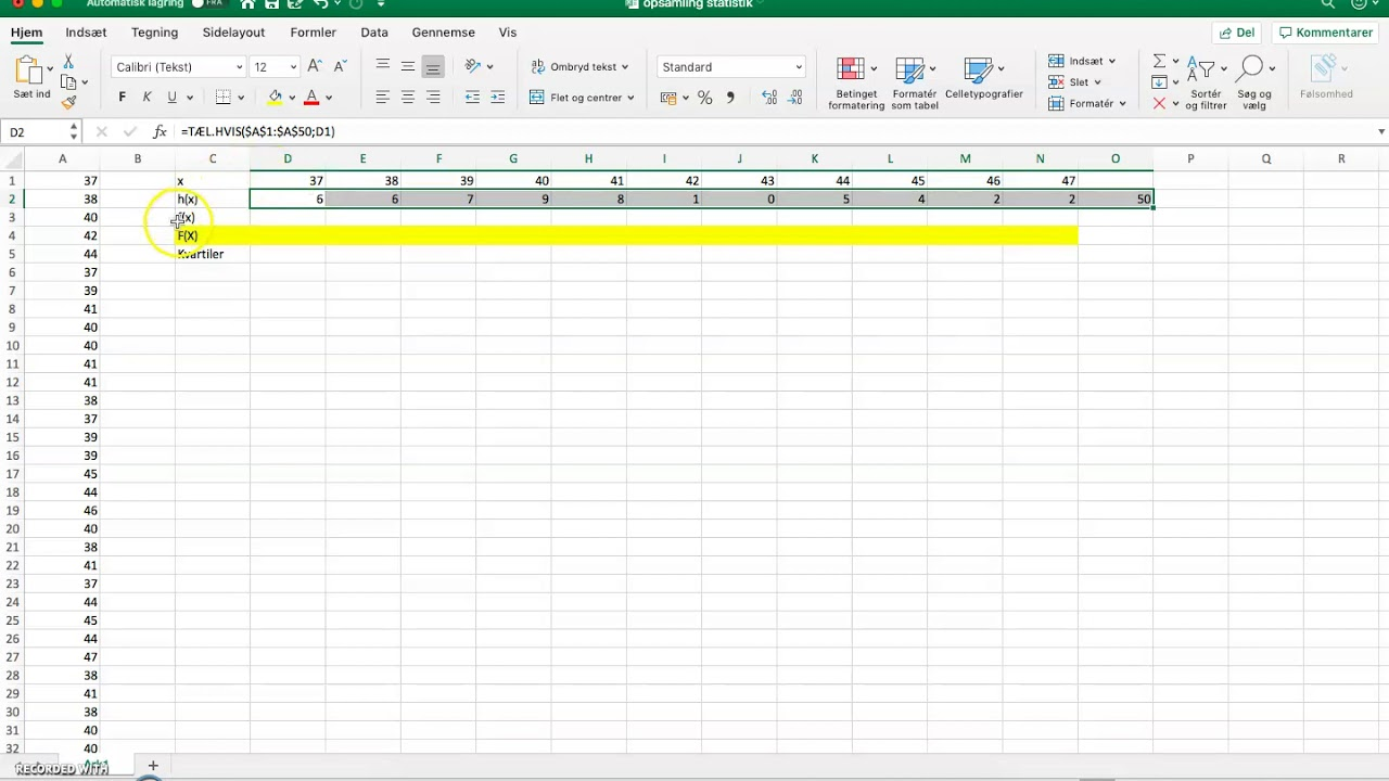 Statistisk analyse i excel
