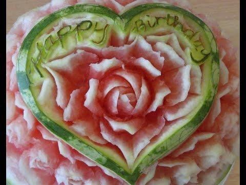 Cách tỉa hoa chúc sinh nhật từ Dưa Hấu 1-Carving Art Melon -Happy- birthday -從水果雕花