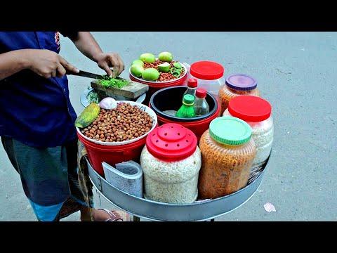 Traveling Jhal Muri King with Amazing Cutting Skills   Bangladeshi Street Food
