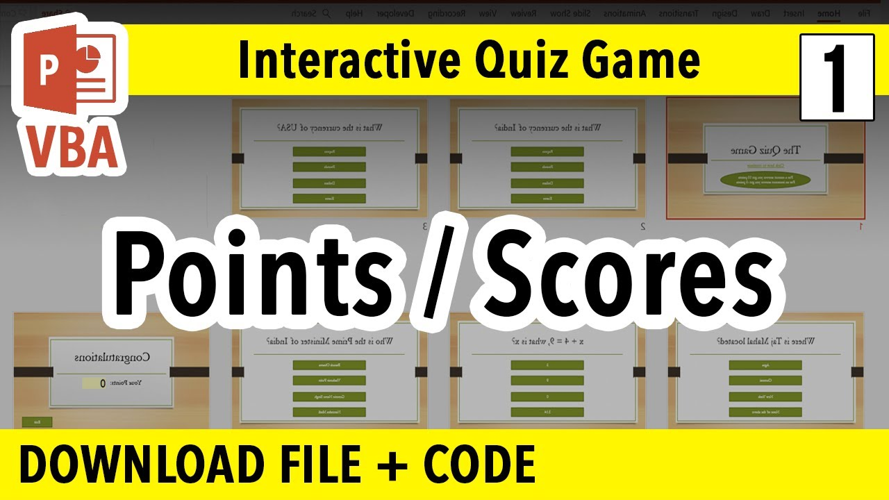 How to make PowerPoint Interactive Quiz Game | Points/Percentages | PPT VBA  Macro Tutorial