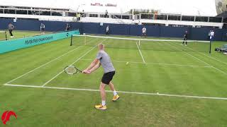 Kyle Edmund Power Hitting on Grass at Queens ATP London - Court Level View