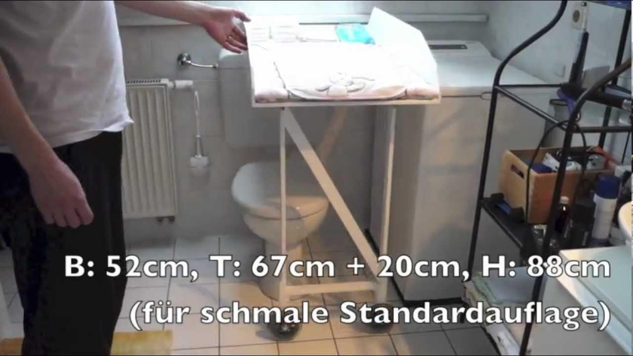 Wickeltisch verschiebbar, für enges Badezimmer (Eigenbau) - YouTube