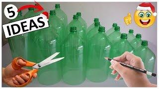 5 Manualidades FACILES Y RAPIDAS con botellas de plástico (para Navidad)