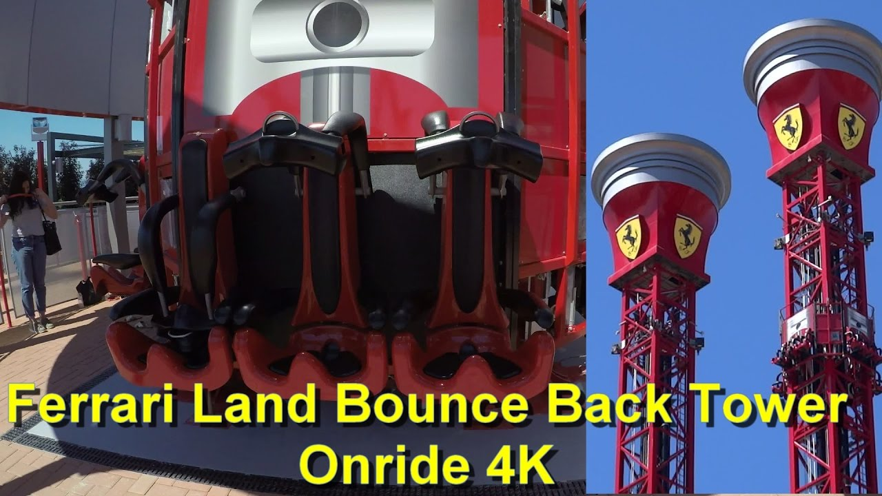 ferrari land bounce back tower drop tower onride 4k - thrill