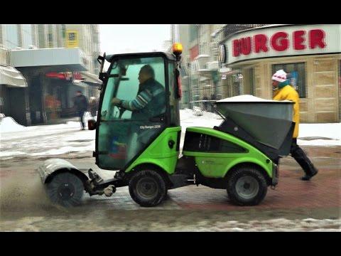 Nilfisk Street Sweeper Skills On The Job: Snow Plowing / Brush / Utility Work Machine