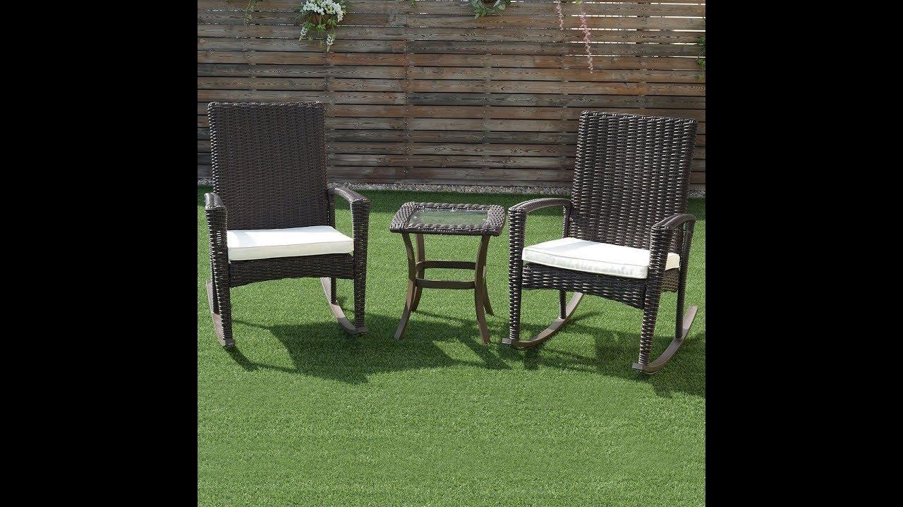 3 Pcs Patio Rattan Wicker Rocking Chairs Coffee Table Furniture Set